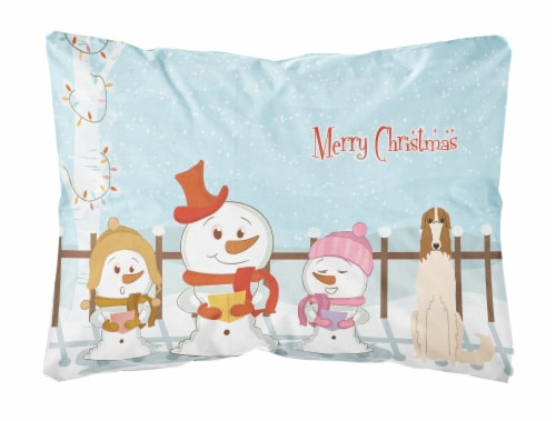 Merry Christmas Carolers Borzoi Canvas Fabric Decorative Pillow Perspective: front