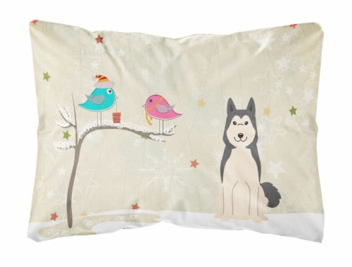 Christmas Presents between Friends West Siberian Laika Spitz Canvas Fabric Decor Perspective: front