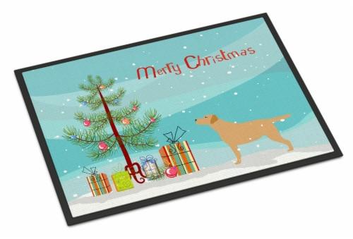 Yellow Labrador Retriever Merry Christmas Tree Indoor or Outdoor Mat 18x27 Perspective: front