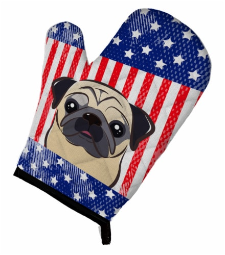 Carolines Treasures  BB2192OVMT American Flag and Fawn Pug Oven Mitt Perspective: front