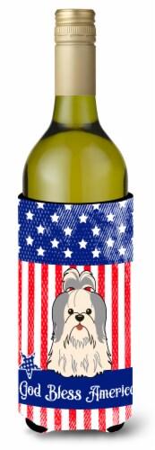 Patriotic USA Shih Tzu Silver White Wine Bottle Beverge Insulator Hugger Perspective: front
