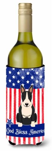 Patriotic USA Bull Terrier Black White Wine Bottle Beverge Insulator Hugger Perspective: front