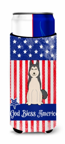 Patriotic USA West Siberian Laika Spitz Michelob Ultra Hugger for slim cans Perspective: front