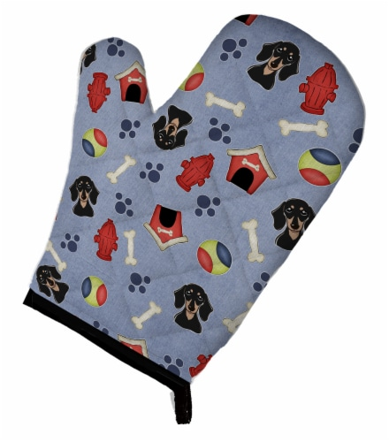Dog House Collection Smooth Black and Tan Dachshund Oven Mitt Perspective: front