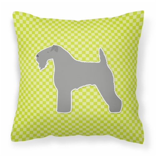 Kerry Blue Terrier Checkerboard Green Fabric Decorative Pillow Perspective: front
