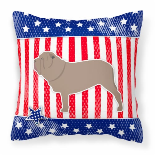 USA Patriotic Neapolitan Mastiff Fabric Decorative Pillow Perspective: front