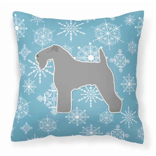 Winter Snowflake Kerry Blue Terrier Fabric Decorative Pillow Perspective: front