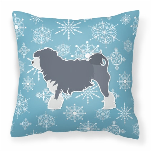 Winter Snowflake Lowchen Fabric Decorative Pillow Perspective: front