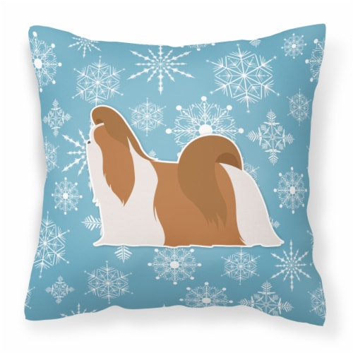 Winter Snowflake Shih Tzu Fabric Decorative Pillow Perspective: front