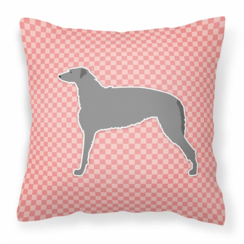 Scottish Deerhound Checkerboard Pink Fabric Decorative Pillow Perspective: front