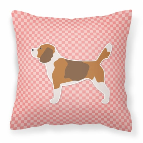 Beagle Checkerboard Pink Fabric Decorative Pillow Perspective: front