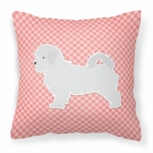 Maltese Checkerboard Pink Fabric Decorative Pillow Perspective: front