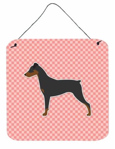 German Pinscher Checkerboard Pink Wall or Door Hanging Prints Perspective: front