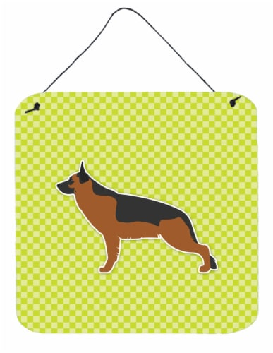 German Shepherd Checkerboard Green Wall or Door Hanging Prints Perspective: front