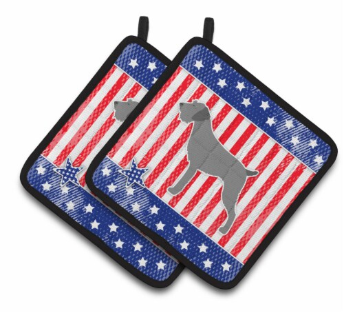 USA Patriotic German Wirehaired Pointer Pair of Pot Holders Perspective: front