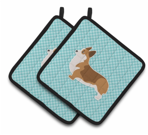 Carolines Treasures  BB3720PTHD Corgi Checkerboard Blue Pair of Pot Holders Perspective: front