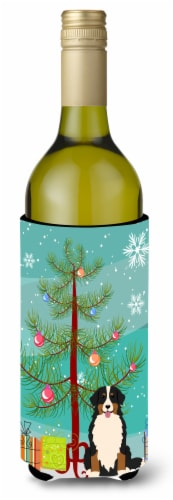Merry Christmas Tree Bernese Mountain Dog Wine Bottle Beverge Insulator Hugger Perspective: front