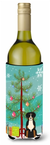 Merry Christmas Tree Greater Swiss Mountain Dog Wine Bottle Beverge Insulator Hu Perspective: front