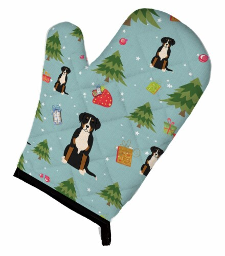 Carolines Treasures  BB4697OVMT Christmas Greater Swiss Mountain Dog Oven Mitt Perspective: front