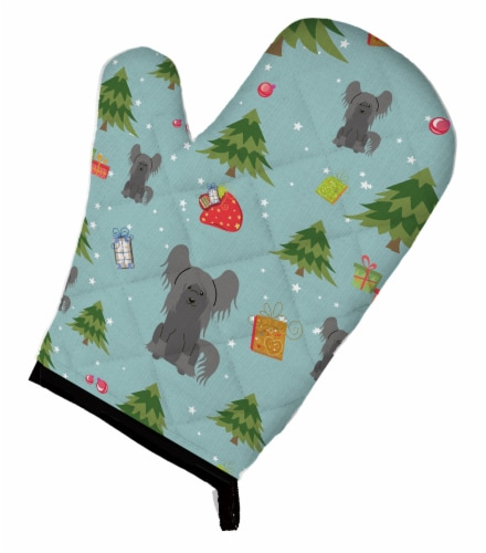 Carolines Treasures  BB4772OVMT Christmas Chinese Crested Black Oven Mitt Perspective: front