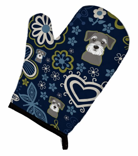 Carolines Treasures  BB5057OVMT Blue Flowers Schnauzer Oven Mitt Perspective: front