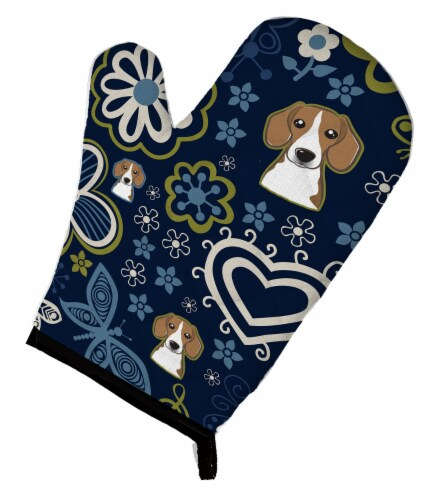 Carolines Treasures  BB5090OVMT Blue Flowers Beagle Oven Mitt Perspective: front