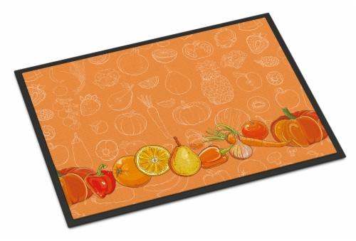 Fruits and Vegetables in Orange Indoor or Outdoor Mat 24x36 Perspective: front
