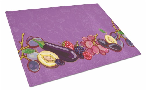 Fruits and Vegetables in Purple Glass Cutting Board Large Perspective: front