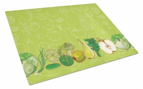 Fruits and Vegetables in Green Glass Cutting Board Large Perspective: front