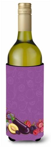 Fruits and Vegetables in Purple Wine Bottle Beverge Insulator Hugger Perspective: front