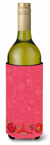 Fruits and Vegetables in Red Wine Bottle Beverge Insulator Hugger Perspective: front