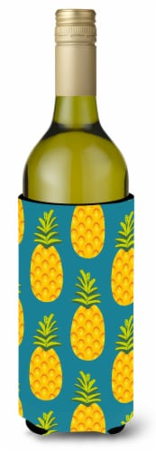 Pineapples on Teal Wine Bottle Beverge Insulator Hugger Perspective: front