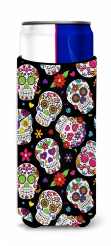 Day of the Dead Black Michelob Ultra Hugger for slim cans Perspective: front