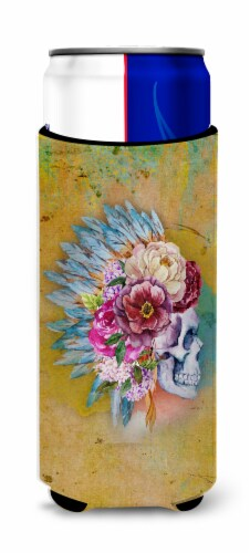Day of the Dead Flowers Skull  Michelob Ultra Hugger for slim cans Perspective: front