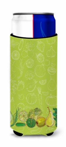 Fruits and Vegetables in Green Michelob Ultra Hugger for slim cans Perspective: front