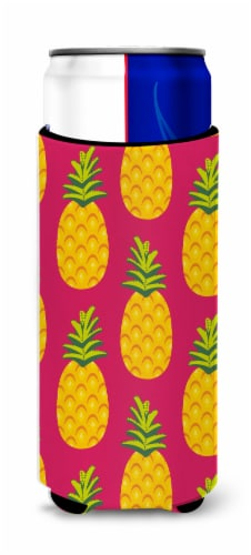 Pineapples on Pink Michelob Ultra Hugger for slim cans Perspective: front