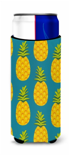 Pineapples on Teal Michelob Ultra Hugger for slim cans Perspective: front