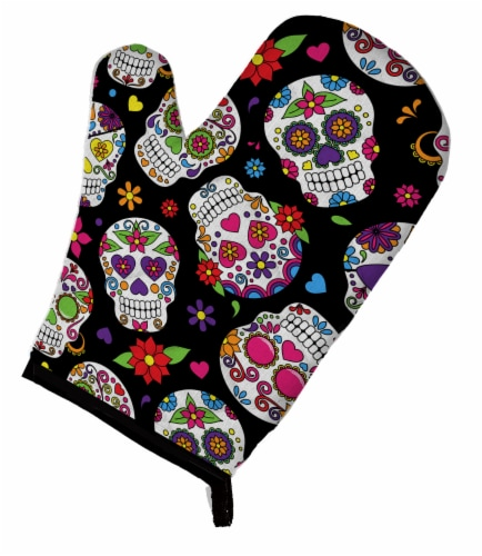 Carolines Treasures  BB5116OVMT Day of the Dead Black Oven Mitt Perspective: front
