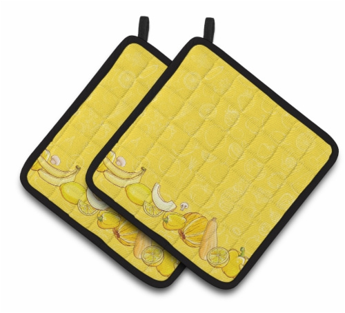 Fruits and Vegetables in Yellow Pair of Pot Holders Perspective: front