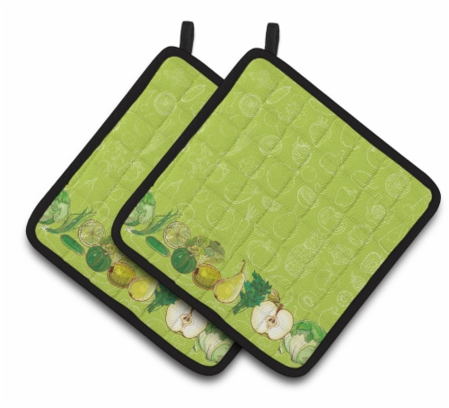Fruits and Vegetables in Green Pair of Pot Holders Perspective: front