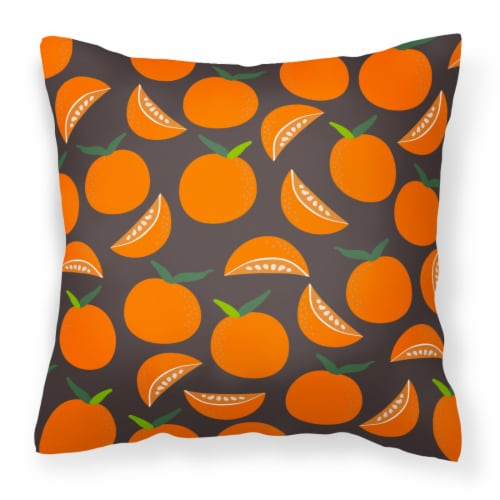 Carolines Treasures  BB5142PW1414 Oranges on Gray Fabric Decorative Pillow Perspective: front