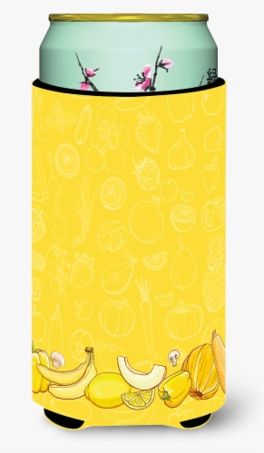 Fruits and Vegetables in Yellow Tall Boy Beverage Insulator Hugger Perspective: front