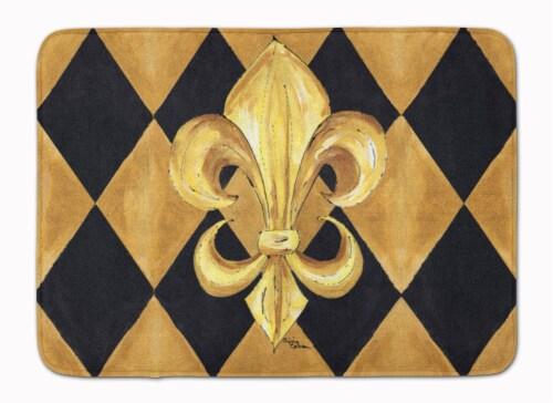Black and Gold Fleur de lis New Orleans Machine Washable Memory Foam Mat Perspective: front