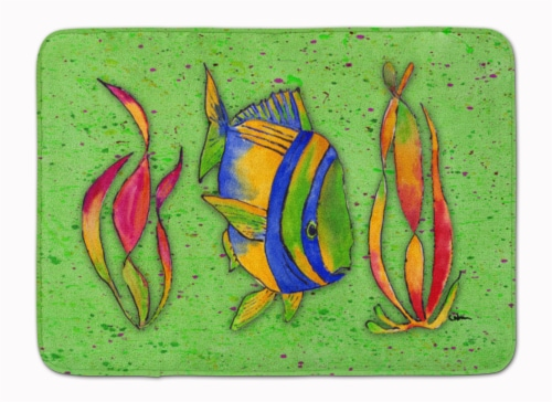 Tropical Fish on Green Machine Washable Memory Foam Mat Perspective: front