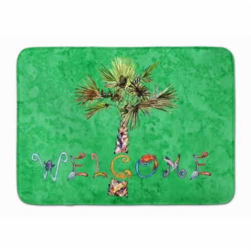 Welcome Palm Tree on Green Machine Washable Memory Foam Mat Perspective: front