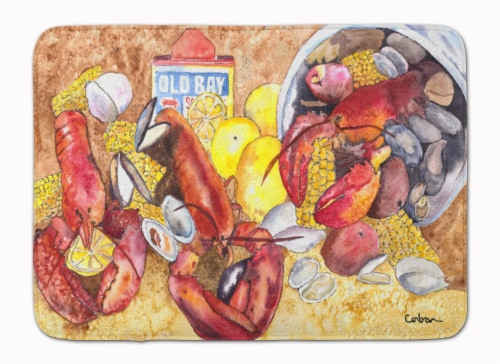 Lobster with Old Bay Machine Washable Memory Foam Mat Perspective: front