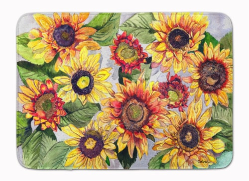 Carolines Treasures  8766RUG Sunflowers Machine Washable Memory Foam Mat Perspective: front