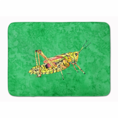 Grasshopper on Green Machine Washable Memory Foam Mat Perspective: front