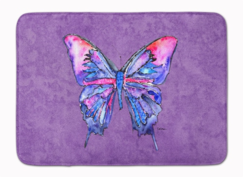 Butterfly on Purple Machine Washable Memory Foam Mat Perspective: front