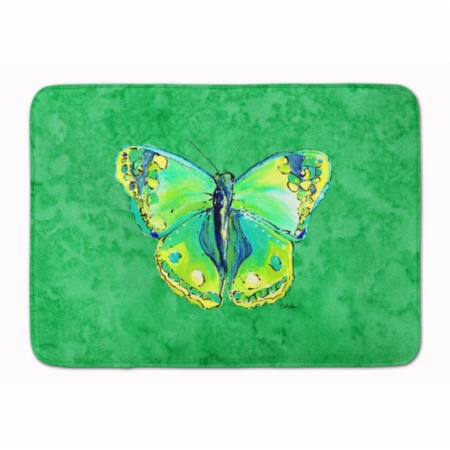 Butterfly Green on Green Machine Washable Memory Foam Mat Perspective: front